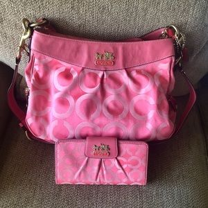 COACH Pink Satchel Handbag and Matching Wallet Set